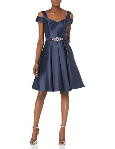 Eliza J Women's Off The Shoulder Flared Dress, Navy, 4