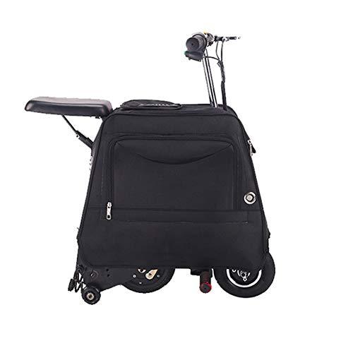 DXFK.AM Elektrisch Koffer Roller Clever Trolley Kann Sitzen Reisetasche Gepäck Reise Aufbewahrungsbehälter für die Schule Flughafen Draussen,Schwarz