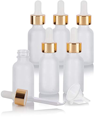 1 oz / 30 ml Frosted Clear Glass Boston Round Bottle with Gold Metal and Glass Dropper (6 pack) + Funnel