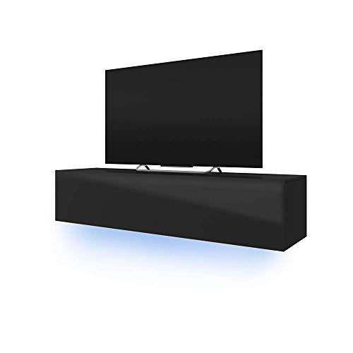 TV Schrank Lowboard Hängeboard Simple mit LED Blau (Schwarz Matt/Schwarz Hochglanz 160 cm)