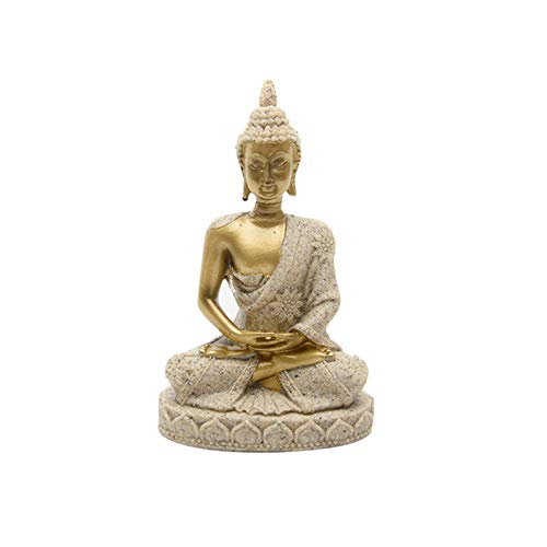 Buddha Statue, Hindu Sculpture Meditation Buddha Figurine, Resin Miniature Blessing Buddha Idol for Buddhists Temple Porch Decoration