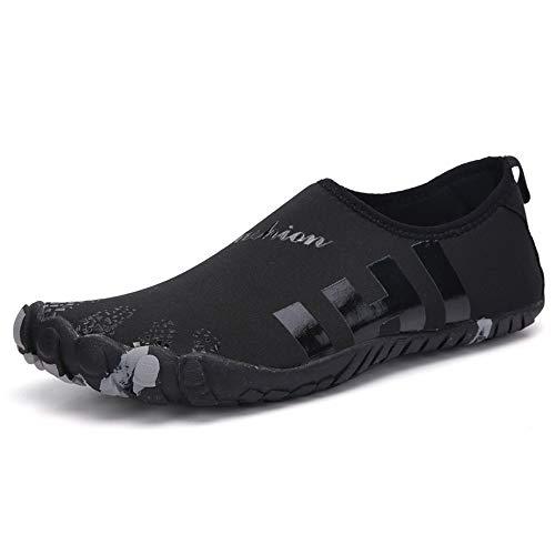 Zapatos de Agua Zapatos Piscina de vadeo Playa de los Hombres de Secado rápido Zapatos de Mujer Adecuado para Nadar Surf (Color : Black, Size : 43)
