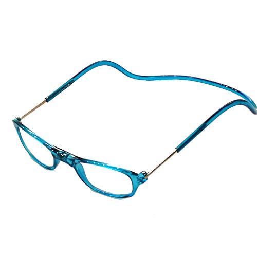 Herren Damen Lesebrille Magnet trennbar schwarz klassische Form und Farben leicht Federbügel Matt Look (1.5, Blau)