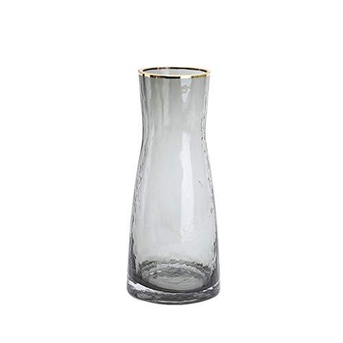 SHUTING2020 Jarrones Jarrón de Vidrio Simple Moderno Hogar Sala de Estar Escritorio Mesa de café Arreglo de Flores Gris Decoración de jarrón Transparente Jarrones de Flores de (Color : Gray)