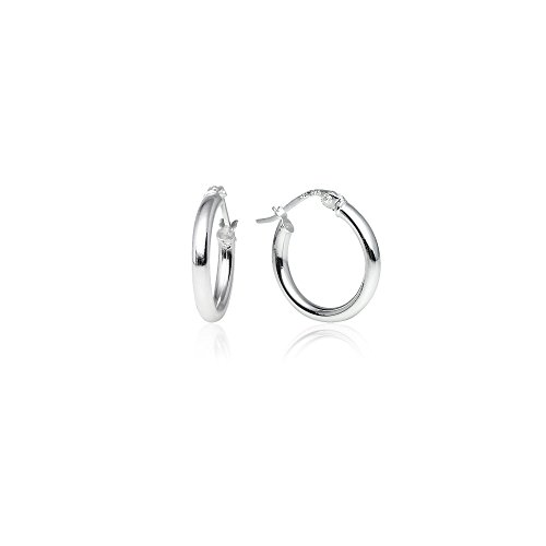 LOVVE Sterling Silver High Polished Round-Tube Click-Top Hoop Earrings 2x15mm