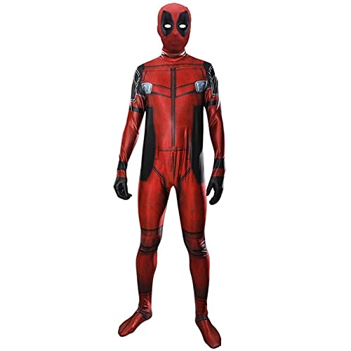 HAOWUTX Deadpool Cosplay Disfraces Adultos y niños Cosplay emmplyuit 3D impresión Halloween Carnaval Body Traje de Disfraces (Talla : 130-140CM)