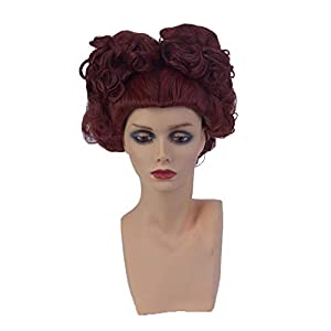 Womens Short Deep Red Queen Curly Cosplay Wig