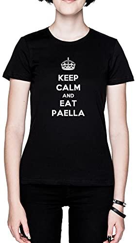 Keep Calm and Eat Paella Negro Mujer Camiseta Tamaño M Black Women