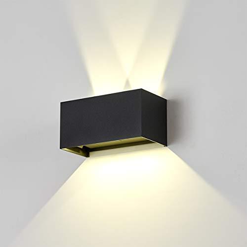 Dr.lazy 20W Lampada da Parete per Interni/Esterno LED Moderno, Applique da Parete Muro in Alluminio Angolo,Lampada Muro su e Giù Regolabile Design Angolo IP65 Impermeabile (Nero/Bianco Naturale)
