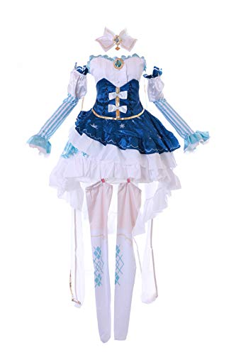Kawaii-Story MN-184 Miku Snow Princess Lolita Vestido Azul Disfraz 9 Piezas Disfraz Cosplay Mujer Disfraz Cosplay (S)