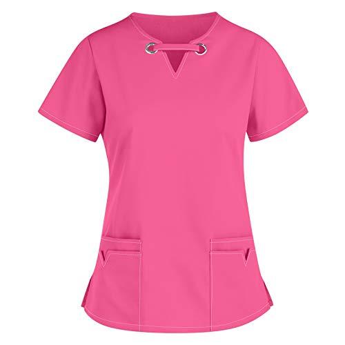 Kasacks Damen Pflege Oberteil V-Neck Kurzarm T-Shirts Arbeitskleidung Einfarbige Pflege Uniformen Schlupfkasack Frauen Sommershirt Pflegekleidung Schlupfhemd Berufskleidung
