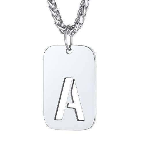 FindChic Personalisierte Militärischen Erkennungsmarke Buchstabe A Halskette Armee Stil Herren Anhänger Freundschafts Kette für Herren Männer