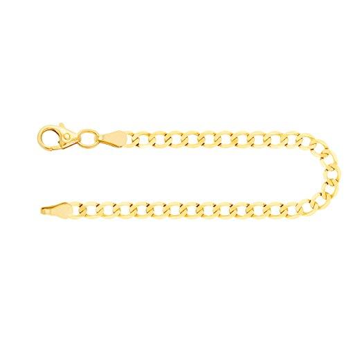 Echtgold Armband Herren Gold 3.1 mm, Panzerkette facettiert 585 aus Gelbgold Goldarmband mit Stempel und Karabinerverschluss mit Schlaufe, Länge 19 cm, Gewicht ca. 2.8 g, Made in Germany