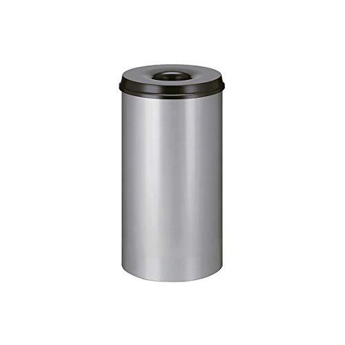 V-Part Selbstlöschender Papierkorb 50 Liter, Korpus alufarben / Löschkopf schwarz