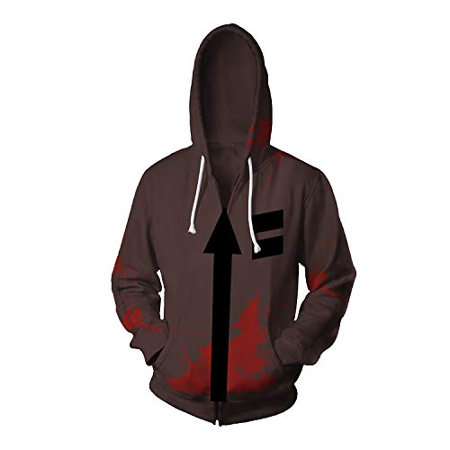 Shuihua - Kapuzenpullover Angels of Death - Isaac · Foster/Zack Cosplay Hoodie, Anime Game 3D Printing Hoodys Zipper-Jacke (Color : Brown, Size : S)