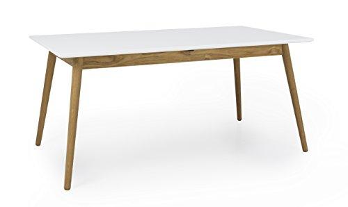 Tenzo 1681-001 Dot Designer Ausziehtisch mit Einlegeplatte, Holz, weiß / eiche, 90 x 160 x 75 cm