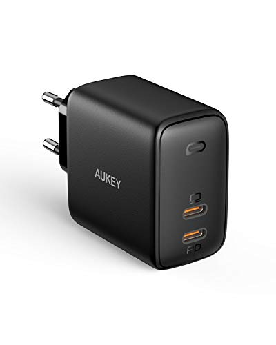 AUKEY Omnia USB C Ladegerät 65W Power Delivery 3.0, USB-C Netzteil mit GaNFast Tech & Dynamic Detect, Schnelles PD Ladegerät für 13\'\'MacBook Pro, iPad Pro, iPhone, Google Pixel 4XL, Nintendo