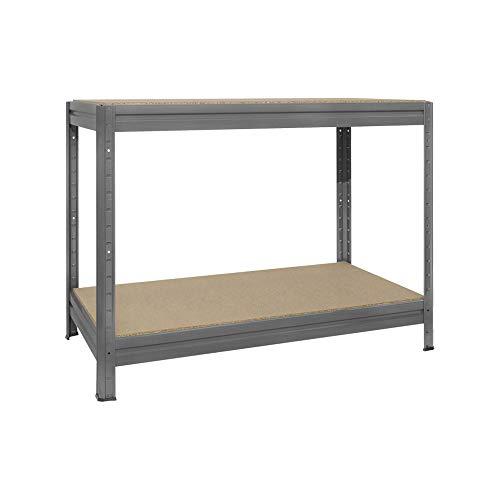 GIASTA - BANCO DA LAVORO ROBUSTO 120 x 60 in legno e metallo GRIGIO per carichi pesanti portata 600Kg a ripiano per 2 ripiani montaggio facile ad incastro