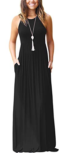 GRECERELLE Women's Round Neck Sleeveless A-line Casual Maxi Dresses with Pockets Black-Small