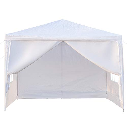OCDAY Outdoor Patio Canopy Tent Wedding Party Waterproof Tent Easy Set Gazebo Canopy Cater Events Tent UV Protection Beach Shelter White 10 x 10 in (10 x 10 in (4 Sides))