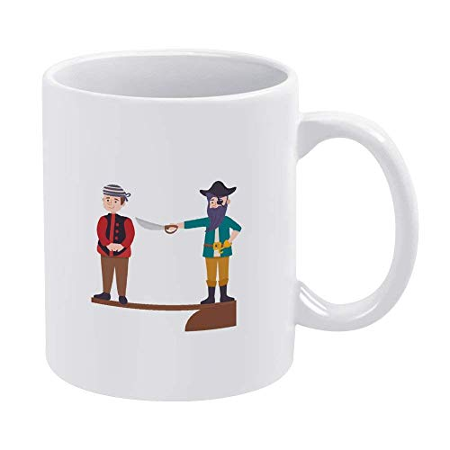 N\A Taza Pirata Que obliga al Marinero a Bajar el café de cerámica Taza de té Taza Divertida Regalo del día del Padre 11OZ