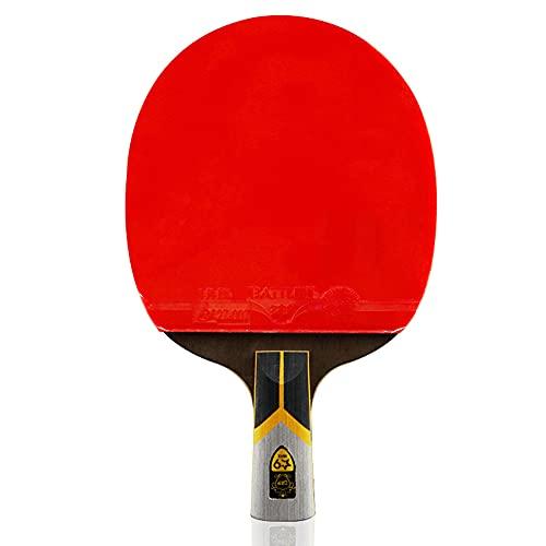 LINGOSHUN Raquetas de Tenis de Mesa con Tecnología de Fibra de Carbono,Paleta de Ping Pong Premium para Mayor Control,Giro, 9 Estrellas/Single/Short handle