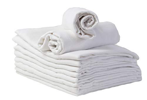 Mulltücher - Mullwindeln - 10er Pack 80x80 cm - Stoffwindeln, MADE IN EU, doppelt gewebt - schadstoffgeprüft - Spucktücher für Jungen und Mädchen - Baby Mullwindeln – weiß - kochfest bei 95° C