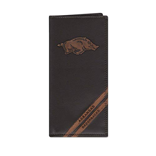 NCAA Arkansas Razorbacks Zep-Pro Pull-Up Leather Long Secretary Embossed Wallet, Brown