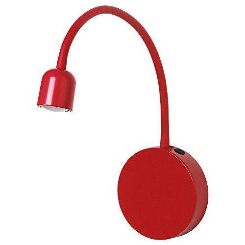 IKEA BLAVIK - Lámpara LED de pared ajustable (funciona con batería), color rojo