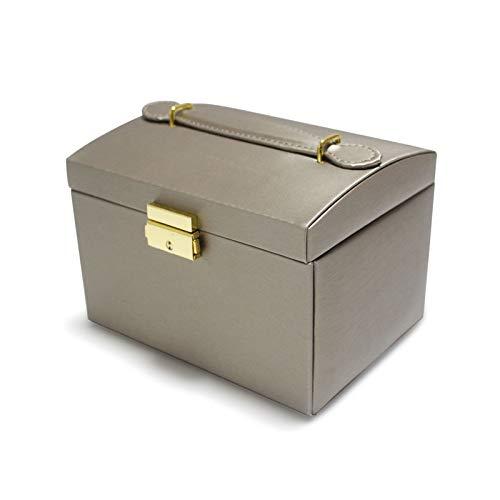 Cajas de joyería para mujer, caja de joyería con cerradura con espejo, superficie impermeable, caja de almacenamiento de doble cajón, para anillos, pendientes, collares, regalo femenino