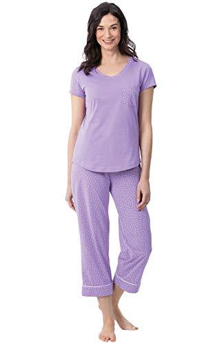 PajamaGram Womens Pajamas Soft Cotton - Womans Pajamas Sets, Lavender, S, 4-6