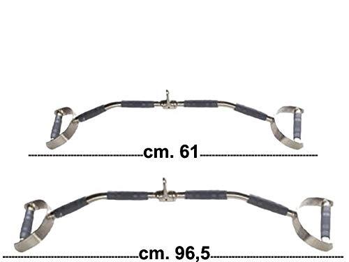 Toorx - Barra LAT trazy Bar con 2 Maniglie Disponibile 61 cm o 96,5 cm (curvata, 96,5 cm)