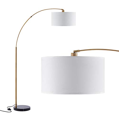 Archiology Floor Lamp - Arc Floor Lamp with Unique Hanging White Linen Drum Shade & Marble Base ,77'' Height Modern Floor Lamp Perfect for Living Room Reading Bedroom Office