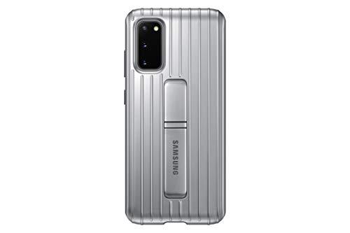Samsung Protective Standing Smartphone Cover EF-RG980 für Galaxy S20 | S20 5G Handy-Hülle, Schutz, ausklappbarer Standfuß, griffige Oberfläche, silber