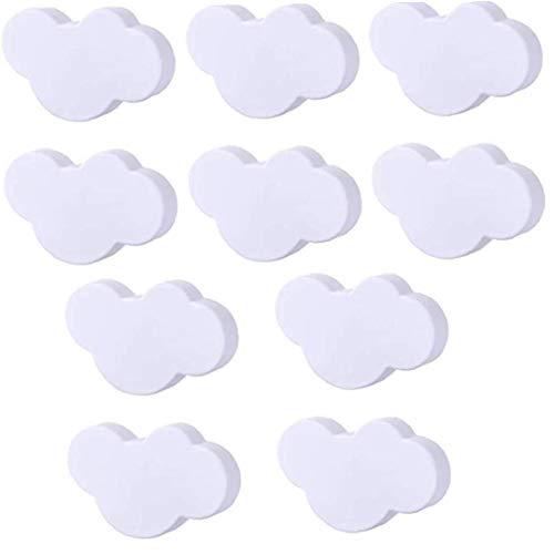El gabinete maneja perillas de Puerta niños Nube manijas de plástico de Dibujos Animados Muebles Mandos de la Nube Blanca con Forma de Tornillos para Habitación Sala Cocina 10PCS