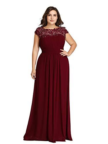 Ever-Pretty Vestito da Cerimonia Donna Taglie Forti Linea ad A Girocollo Senza Maniche Pizzo Chiffon Borgogna 56