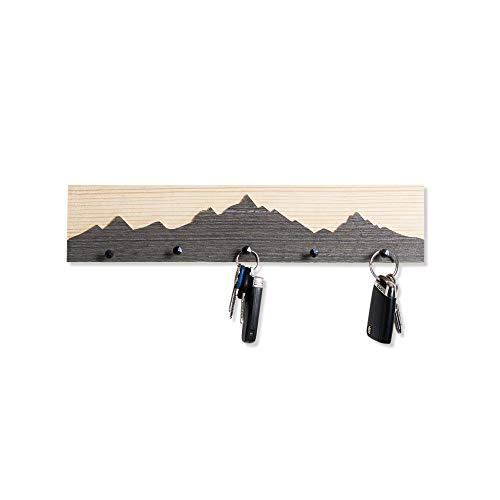 WOODS Schlüsselbrett Altholz mit Berg Motiv | Handgefertigt in Bayern | mehrere Ausführungen zur Auswahl | Schlüsselkasten Schlüsselhalter Schlüsselleiste Schlüsselboard | Motiv 40cm