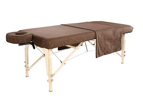 Deluxe Flanell Set 3-teilig Baumwolle für Massageliege in Schokolade