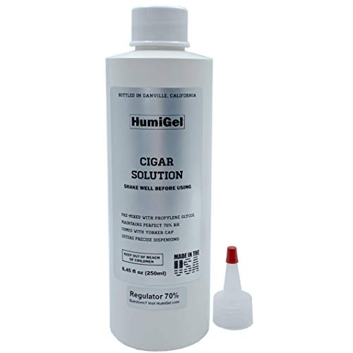 Cigar humidor solution for humidifiers 8.45 oz, MADE IN USA by HumiGel, Propylene Glycol 50/50 formula, Anti-mold, and keep your cigars fresh, Made with 100% domestic ingredients, bottled in Danville, California