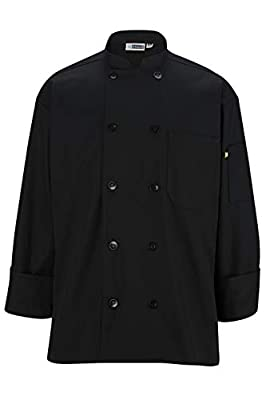 Ed Garments 10 Pearl Button Classic Full Cut Chef Coat, BLACK, X-Large