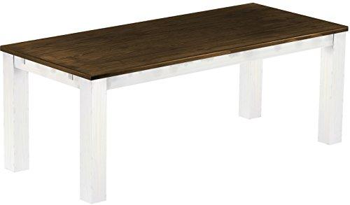 Esstisch Rio Classico 208x90 cm Eiche Weiß Massivholz Pinie Holz Esszimmertisch Echtholz Größe und Farbe wählbar ausziehbar vorgerichtet für Ansteckplatten Brasilmöbel