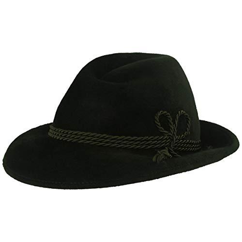 Herren Velour Trachten-Hut | Filz-Hut | Herren-Hut – Werdenfelser – Handgemacht aus 100% Haarfilz mit grüner Kordel-Garnitur & Echtleder Schweißband - Grün