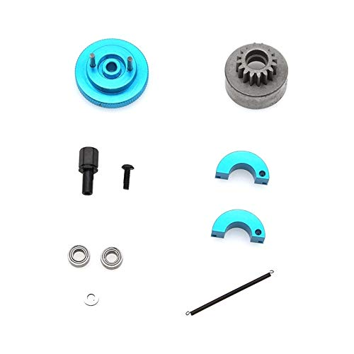 HONG YI-HAT Flywheel Clutch Bell 16T und Schuhe Frühling Kugellager 10X5X4mm Nitro Motorteile passend for HSP 1/10 Buggy LKW Reserveonderdelen (Color : Blue)