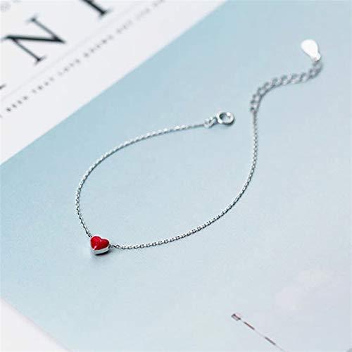 L-YINGZON Collares 925 joyería Plateado Rojo corazón Colgante Pulsera de joyería de Moda Simple Joyas