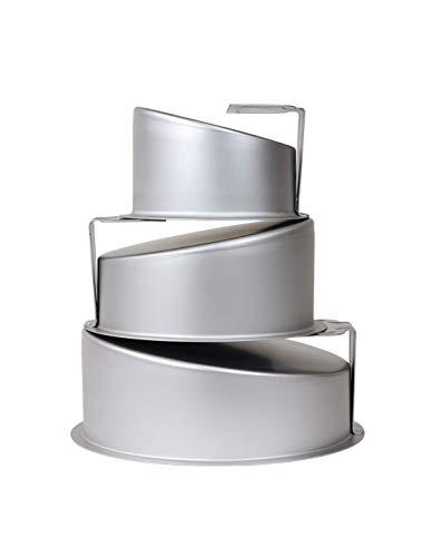Art of Cake/PME Topsy Turvy 6 20,3 & 25,4 cm Set mit drei runden eloxierten Aluminium-Backformen 15,2 cm, 20,3 cm und 25,4 cm, alle hohen Seiten 10,2 cm tief