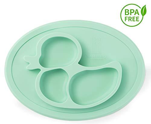 BPA-freier und rutschfester Kinderteller 27x20x3cm – Sicher und geprüfter Esslernteller – Designed in Germany – Perfekt für Baby Led Weaning – Passt in Spülmaschine und Mikrowelle YAMBINO® (Türkis)