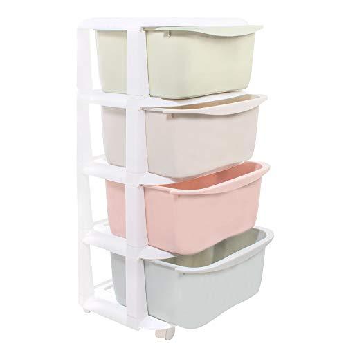 SPRINGOS - Estantería infantil pastel, 80 x 37 x 37 cm, carro con ruedas, para cuarto de baño, estantería móvil de almacenamiento, estantería de plástico (pastel, 80 x 37 x 37 cm)