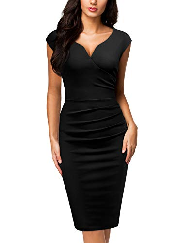 Miusol Women's V-Neck Sleeveless Vintage Slim Style Business Pencil Dress (X-Large, C-Black)