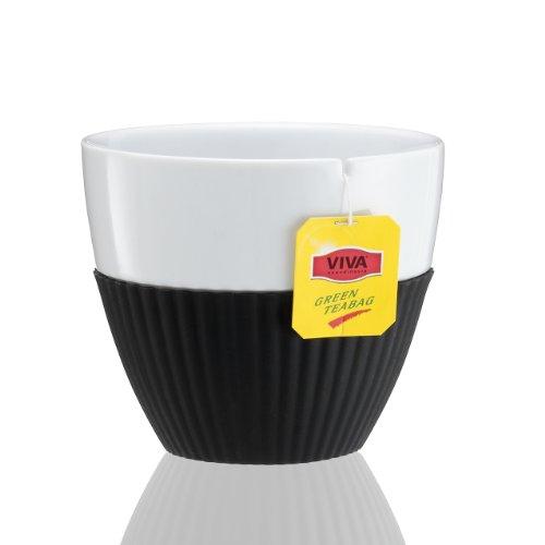 Viva Scandinavia - Set de 2 Tasses en Porcelaine Blanche avec Manchon en Silicone Noir 25 cl