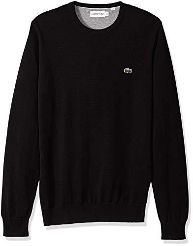 Lacoste Men's Long Sleeve Half Moon Crew Neck Jersey Sweater, Flour/Black, X-Large